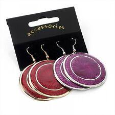 2 pares de patrón en relieve Rojo Púrpura Disco dejar pendientes de aro bisutería