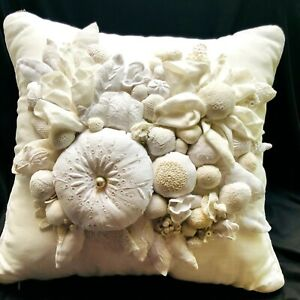 Custom made linen pillow with hand made linen & lace flowers