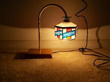 Vintage Sterling Pilsner Beer Table Lamp Light Stained Glass Style Plastic Shade