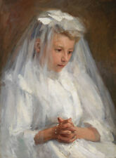 First Communion Caroline A. Lord Sakramente Erstkommunion Kind Kleid B A3 01014