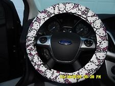 NEW STEERING WHEEL COVER HELLO KITTY PINK WHITE BLACK GREAT GIFT GOOD DEAL