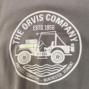 Orvis T-Shirt Jeep Gray Graphic Tee Womens Medium Logo Short Sleeve Cotton VT