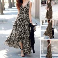 Women Sleeveless Leopard Print Prom Evening Formal Dresses Long Maxi Dress Loose