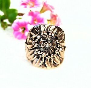 Organic  Solid Copper Flower Ring--Herkimer Diamond Crystal Stone-Size 7