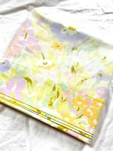 Vintage 1960s Sears Perma-Prest Percale Pastel Meadowsong Floral Sheet Full Flat