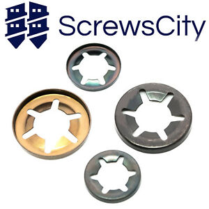 Starlock Washers For Shaft Retaining Push On Clips 2mm - 25mm Spring Steel Star