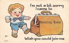 """""""Not A Bit Sorry I Came to"""" Manning Iowa~Boy With Suitcase~Join Me~1918 Postcard"""
