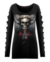 Spiral Direct NEW UNSPOKEN Slashed Sleeve Boatneck/Wings/Darkwear/Skull/Goth/Top