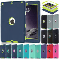 Kids Rugged Shockproof Heavy Duty Rubber Hard Hybrid Case Cover For iPad Series