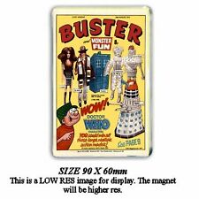RETRO 70's  'BUSTER' COMIC with DOCTOR WHO FIGURES JUMBO FRIDGE / Locker Magnet