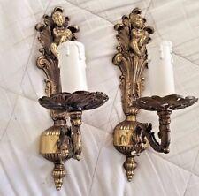 Antique vintage French pair brass sconces angels cherubs putti light fixtures