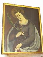 Ecole FRANCAISE XIX TABLEAU PORTRAIT SAINTE REINE FEMME MARTYR CATHOLIQUE