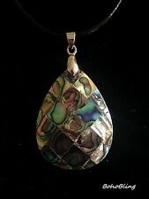 Necklace Pendant Silver Abalone Shell Black Cord Surf Boho Bohemian Tribal Gypsy