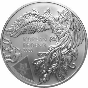 2020 Silver 1 oz South Korea .999 Fine Rising Phoenix Coin Komsco Mint