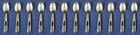 SET OF TWELVE - Oneida Stainless Flatware RAFFIA (Glossy)  Demitasse Spoons USA