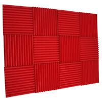 "12 Acoustic Red Wedge Studio Foam Soundproofing Foam Wall Panels Tiles 1""X12X12"