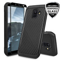 For [Samsung Galaxy A6 2018] Carbon Fiber Armor Phone Case+Black Tempered Glass