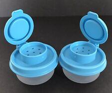 Tupperware Smidget Salt and Pepper Shaker Set of 2 Sheer Bottoms Blue Tops