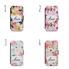 Personalised Watercolor FLOWER PHONE CASE WALLET S7 S8 S9 & Iphone 5S 7S X A78