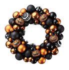 Brand New Halloween Pumkin Spooky Orange & Black Holiday Wreath