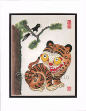 Korean Art Rice Paper Print Magpie Tiger Matted #006r