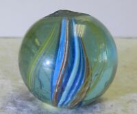 #12331m Blue Tinted Glass German Handmade Divided Ribbon Swirl Marble .93 Inches