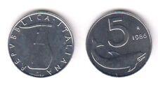 1986 Italia Lire 5 Delfino Fior di Conio Unc
