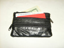 Coin Purse--- Leather Pouch with Three Zipper And Key Holder/ Black