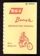 1965 BSA MOTOR CYCLE INSTRUCTION BOOK / 75cc MODEL K1
