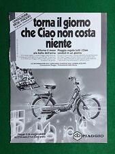 PV124 Pubblicità Advertising Clipping (1983) 28x21 - PIAGGIO CIAO CICLOMOTORE