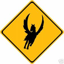Pegasus Horse Caution Yellow Road Sign