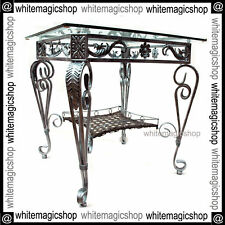 Designer Dining Table Hard Crafted Silver Colour Iron Frame Clear Glass Top NEW