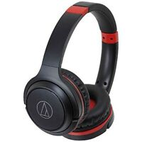 audio-technica ATH-S200BT BRD Bluetooth Wireless On-Ear Headphones Black Red NEW