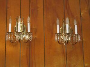 2 SOLID BRASS 3L vintage sconces COLLECTIBLE SCONCES HOME & GARDEN SCONCES EXC!