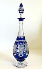 """Val Saint-Lambert -Rare carafe piriforme doublée bleu-modèle """"balmoral""""-ca 1920"""