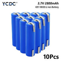10x 18650 Battery 3.7V 2800mAh Rechargeable With Tabs For Torch LED Light Toy 1