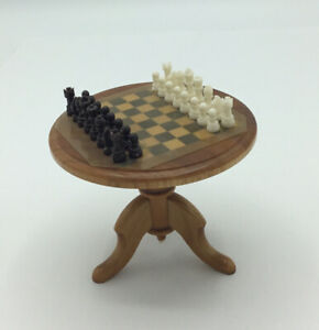 Dolls House Round Chess Table With Chess Set