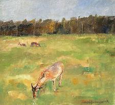Simon Hohenegger 1898-1990 Dachau / Gemälde grasende Rehe am Waldrand / signiert
