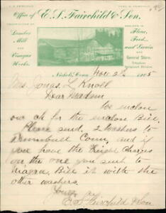 1905 Nichols Connecticut (CT) Letter E. S. Fairchild and Son Jonas L. Knoll