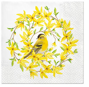 Quality 3-ply Easter Forsythia and Bird Paper Decorative Serviettes 33 x 33cm