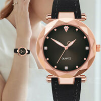 Women's Ladies Stainless Steel Leather Bracelet Crystal Dial Quartz Watch