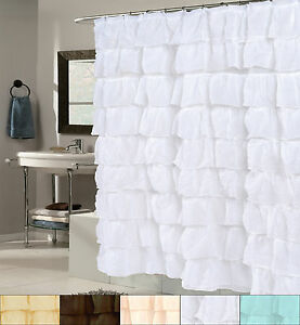 "Polyester Fabric Shower Curtain 70"" x 72"" Elegant Crushed Voile Ruffled Tier"