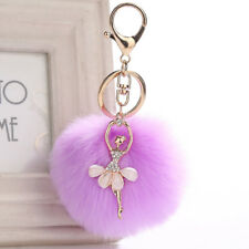 Ballet Dancing Girl Pendant Chic Fur Ball Keychain Decor Bag Plush Car Key Ring Purple