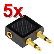 5x Airplane Airline Headphone Adaptor for Audio Jack 2 Plug Air Plane Connector