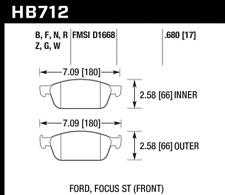 Hawk Disc Front Brake Pad for 13-14 Ford Focus ST # HB712N.680
