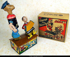 Popeye & Olive Oyl Jiggers on roof mechanical tin wind-up toy Louis Marx 1936
