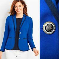 NWT Talbots Aberdeen Pique Cotton Nautical Blazer Jacket 2 Career Work Wear