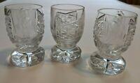 Set of 3 Cut Crystal and Etched Flower Pedestal Shot Glasses  1 oz