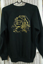 Vintage Holiday Sweatshirt Gold Father Christmas/Santa Homemade Folk Art Gift M
