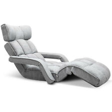 Lounge Sofa Bed Floor Armchair Folding Recliner Chaise Chair Adjustable Grey